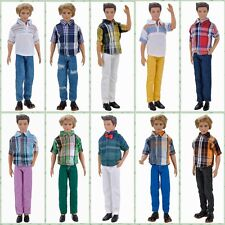 E-TING Casual Wear Shirt Blouse Pants Trousers Clothes Set For Barbie Ken Doll A