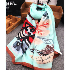 102*182cm Painted Butterfly Women Silk Cotton Soft Shawl Wrap Long Scarf Stole