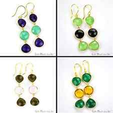 Choose Your Gemstone Earring 65x12 mm, Long Dangle Earring Gold Plated Jewellery