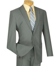 Men's Gray 2 Button Slim Fit Polyester Suit NEW