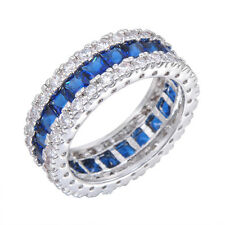 Size 5-10 Blue Sapphire CZ Wedding Band 10KT White Gold Filled Wedding Ring