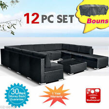 12PCS Outdoor Sofa Lounge couch Setting Furniture Wicker Rattan Garden Set
