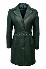 Chic Style Ladies Green Classic Trench Mid Length Designer Leather Jacket Coat