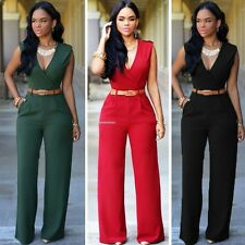 Women's Sexy Sleeveless V-neck Wide Leg Jumpsuit Rompers Evening Party Custume