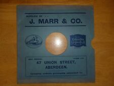 VINTAGE CARD 78 rpm RECORD SLEEVE, J Marr & Co. Aberdeen