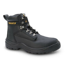 "Mens Black 6"" PU Injected Leather Work Steel Toe Boots BAT-618 Size 6-12 (D, M)"