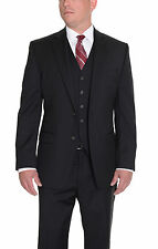 Ralph Lauren Slim Fit Solid Black Two Button Three Piece Wool Suit MSRP $650