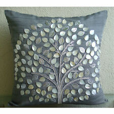 Mother Of Pearls Tree 16x16 Art Silk Grey Throw Pillow Covers - Silver Hope Tree