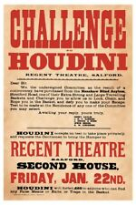 1904 Regent Theatre Magician Harry Houdini Basket Challenge Magic Poster