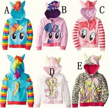 Baby Girls My Little Pony Hoodie Zip Up Jacket Jumper Ear Mane Wing Size 1-10Y