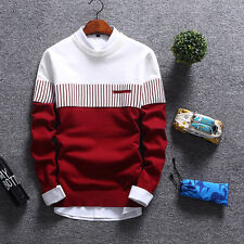 Men Fashion Crew Neck Pullover Jumper Jacket Long Sleeve Kintted Winter Sweater
