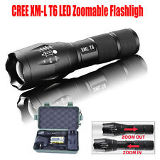 5000LM Zoom XML-T6LED Flashlight Tactical Torch 5-Mode Lamp 18650 Battery Light
