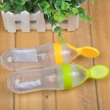Infant Baby Silicone Feeding Bottle With Spoon Easy Food Supplyment Rice Bottle