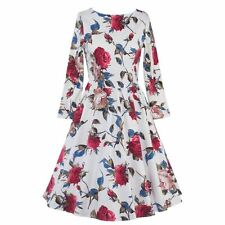 Women Vintage Style Floral Printed 50'S 60'S Cocktail Party Long Sleeve Dress
