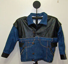 G Wear - Black & Blue Denim & Leather Button Front Jean Jacket - Size M or L