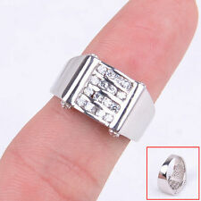 Genuine Accent Fashion 925 Sterling Silver Four Row Crystal Ring Size 6.5-8 H503