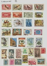 Collection of 34 Lebanon Postage Stamps on Album Sheet