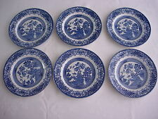 Old Willow pattern EIP English Ironstone Pottery Blue & White side plate x 6