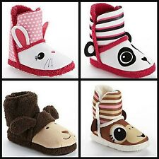* NEW GIRLS Pink Cookie Bunny PANDA BEAR DOG Bootie SLIPPERS 12 13 2 3
