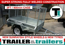 6x4 heavy duty galvanised single axle with 3 ft cage box cage trailer