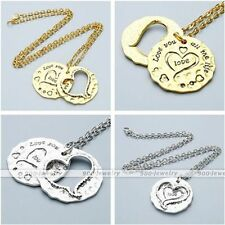 Golden/Silvery Metal Heart Love Pendant Couple Lover Family Chain Necklace Gift