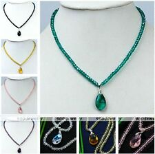 Strand Fashion Women Dangle Faceted Crystal Glass Teardrop Pendant Bead Necklace