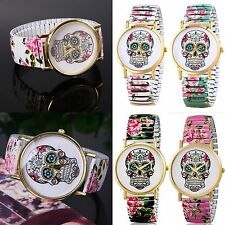 Fashion Skull Metal Dial Quartz Analog Womens Floral Silicone Band Wrist Watches