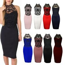 Womens Halter Neck Contrast Crochet Lace Open Back Bodycon Ladies Midi Dress