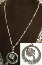 """18"""" or 24 Inch Chain Necklace & Four 4 Leaf Lucky Clover Pendant Charm"""