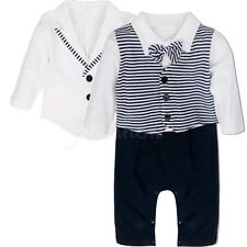 Baby Boys Wedding Formal Party Bow Tie Tuxedo Suit Romper Coat Jumpsuit Outfits