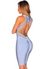 Sexy women Blue Strappy Cut-Out Back Bandage Bodycon Club party cocktail Dress
