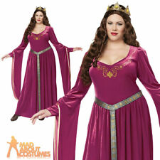 Adult Plus Size Lady Guinevere Costume Medieval Queen Fancy Dress Outfit New