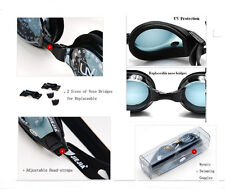 New Prescription Myopic Swimming Goggles Black From 0 till -9.0 with Deluxe Case