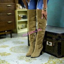 Womens Over Knee High Block Heel Suede Boots Roman Warm Casual Shoes Plus Size