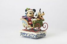 Disney Traditions Figurine Mickey and Pluto in Sleigh Christmas Musical Ornament