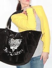 JUICY COUTURE Black XL Velour Leather Tote Bag Purse