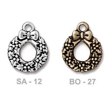TierraCast Wreath Charm - pewter with antique finish - jewelry holiday charm