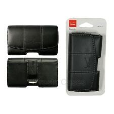 Verizon OEM Side Pouch Black Leather w/ Grey Stitching Metal Clip Holster Cove