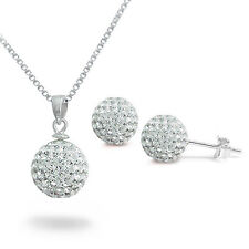 Sterling Silver Simulated  Clear Crystal Disco Ball Necklace And Earring Set