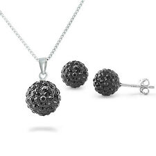 Sterling Silver Simulated Black Crystal Disco Ball Necklace And Earring Set