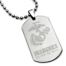 Steel Dog Tag Necklace U.S. Marines Logo with Psalm 23:4 Inscription - SHJSSN326