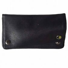 Tobacco Pouch smooth cow leather paper filter coins spaces snap button closure