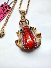 Betsey Johnson Bright and colorful lovely frog pendant necklace#87