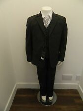 Boys Party Formal Wedding Suit Black Blue Gold Prom Waistcoat 5 Piece Age 1 - 13
