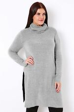 Plus Grey Marl Boucle Knitted Tunic With Cowl Neck 16-32