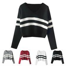 Women Fashion Long Sleeve Striped Knitwear Pullover Short Sweater Top Outerwear