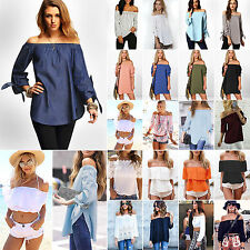 Vintage Women Sexy Off The Shoulder T-Shirt Casual Loose Tops Blouse Tee UK 6-14