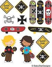 Skateboard themed colour vinyl wall art sticker set bedroom removeable printed