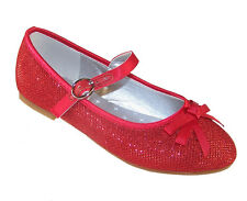 Girls Children Red Sparkly Party Shoes Dorothy WOZ Ballerina Flat New Kids