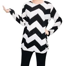 Women Ladies Casual Zig-Zag Pullover Long Sleeve Loose Tops T-Shirt Blouse Shirt